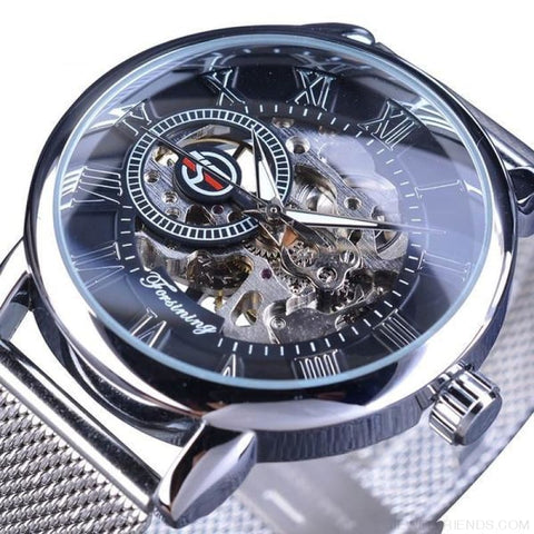 Golden Stainless Steel Mechanical Watch Luxury Skeleton - Black Silver - Custom Made | Free Shipping