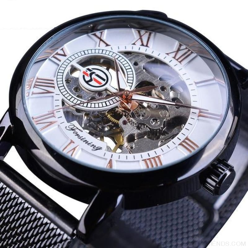 Golden Stainless Steel Mechanical Watch Luxury Skeleton - Black White - Custom Made | Free Shipping