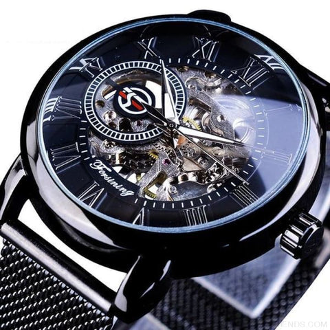 Golden Stainless Steel Mechanical Watch Luxury Skeleton - Full Black - Custom Made | Free Shipping