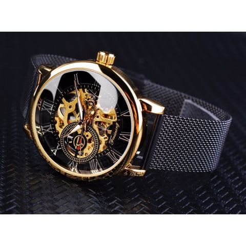 Image of Golden Stainless Steel Mechanical Watch Luxury Skeleton - Custom Made | Free Shipping