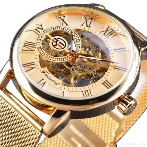 Image of Golden Stainless Steel Mechanical Watch Luxury Skeleton - Golden - Custom Made | Free Shipping