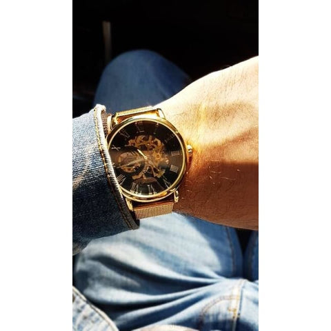 Golden Stainless Steel Mechanical Watch Luxury Skeleton - Custom Made | Free Shipping
