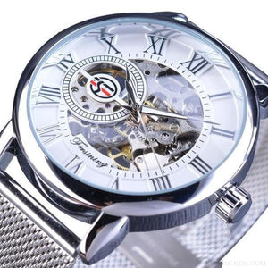 Golden Stainless Steel  Mechanical Watch Luxury Skeleton
