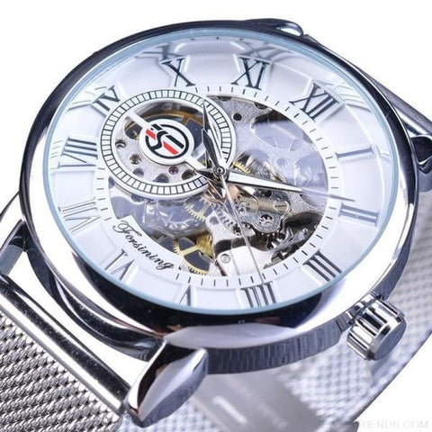 Golden Stainless Steel Mechanical Watch Luxury Skeleton - White - Custom Made | Free Shipping