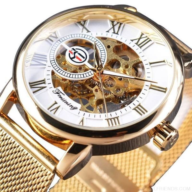 Golden Stainless Steel Mechanical Watch Luxury Skeleton - White Golden - Custom Made | Free Shipping