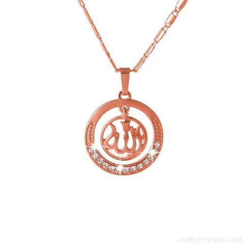 Gold/silver/rose Gold Colors Arabic Islamic Pendant Necklaces - Rose Gold / White / 45Cm - Custom Made | Free Shipping