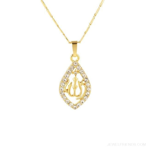 Gold/silver/rose Gold Colors Crystal Allah Pendant Necklace - Gold-Color / 45Cm - Custom Made | Free Shipping