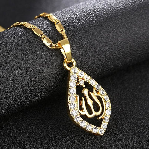 Gold/silver/rose Gold Colors Crystal Allah Pendant Necklace - Custom Made | Free Shipping