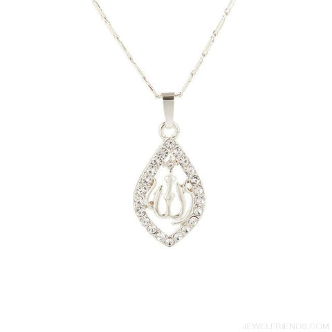 Gold/silver/rose Gold Colors Crystal Allah Pendant Necklace - Silver Plated / 45Cm - Custom Made | Free Shipping
