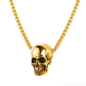 Gothic Biker Skull Pendant Necklace - Gold-Color - Custom Made | Free Shipping