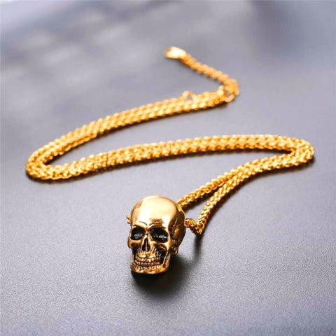 Image of Gothic Biker Skull Pendant Necklace - Custom Made | Free Shipping