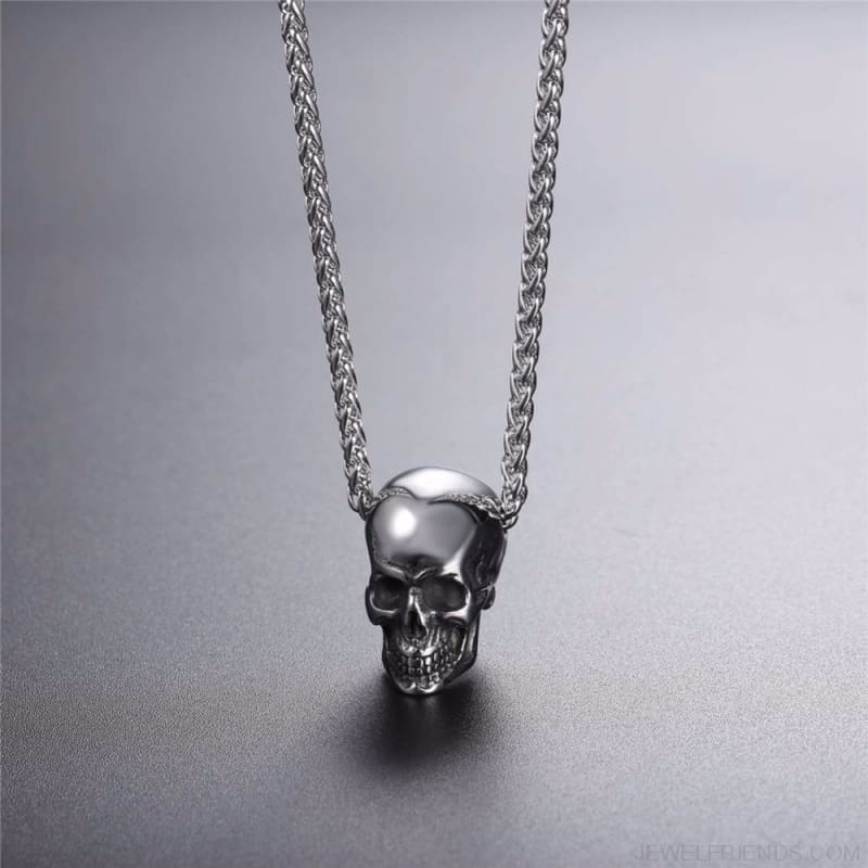 Gothic Biker Skull Pendant Necklace - Custom Made | Free Shipping