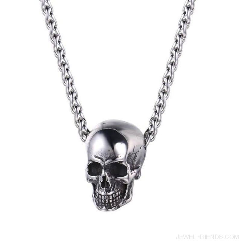 Gothic Biker Skull Pendant Necklace - Stainless Steel - Custom Made | Free Shipping