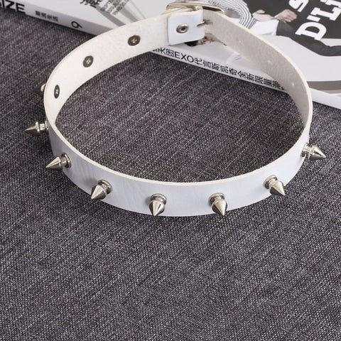 Gothic Leather Silver Spike Choker - Custom Made | Free Shipping