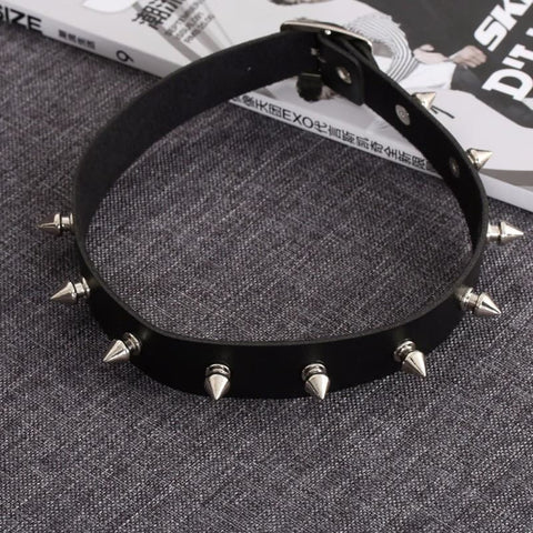 Image of Gothic Leather Silver Spike Choker - Custom Made | Free Shipping