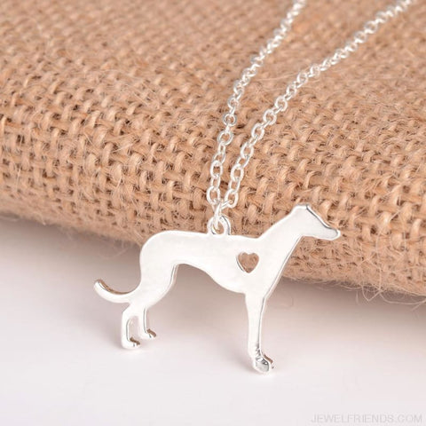 Image of Greyhound Silhoutte Dog Breed Necklace - Custom Made | Free Shipping