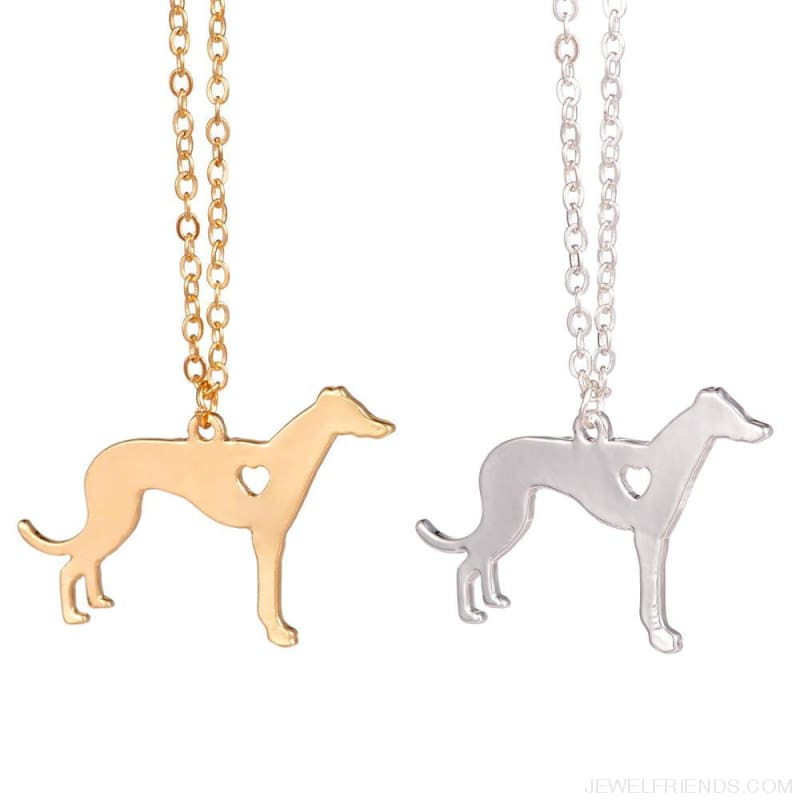 Greyhound Silhoutte Dog Breed Necklace - Custom Made | Free Shipping