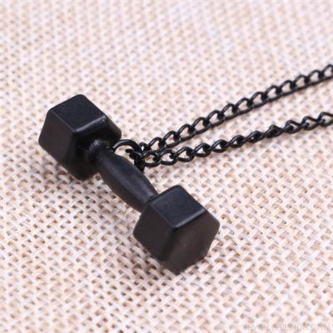 Image of Gym Dumbbell Necklace - Black / 50Cm - Custom Made | Free Shipping