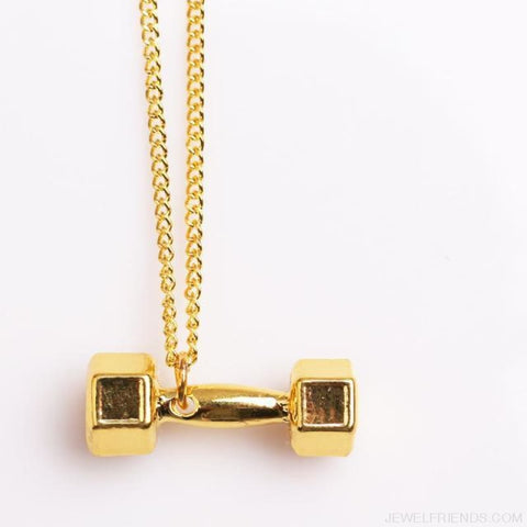 Gym Dumbbell Necklace - Gold / 50Cm - Custom Made | Free Shipping