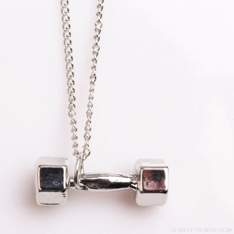 Gym Dumbbell Necklace - Silver / 50Cm - Custom Made | Free Shipping