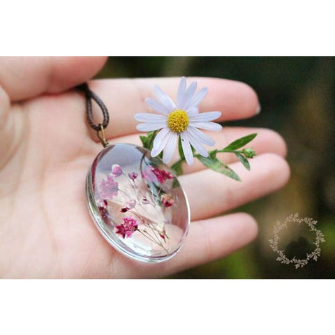 Image of Handmade Dried Flower Necklace - Custom Made | Free Shipping
