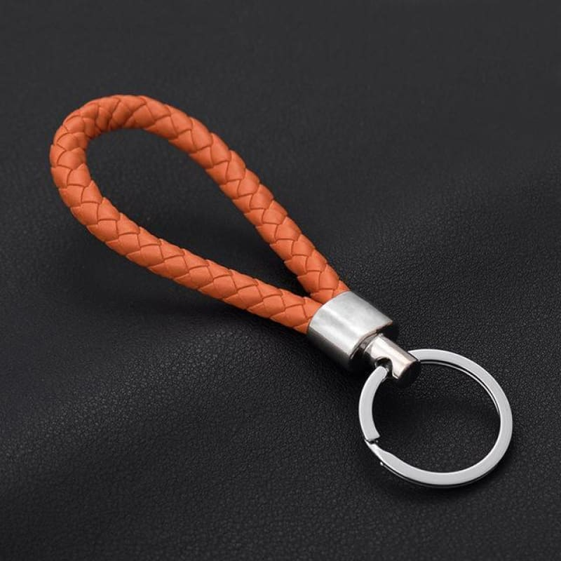 Handmade Leather Rope Woven Keychain - Color 12 - Custom Made | Free Shipping