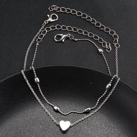 Image of Heart Anklets Barefoot Crochet Sandals Foot Leg On Foot Ankle Bracelets Leg Chain - C1258-Silver - Custom Made | Free Shipping