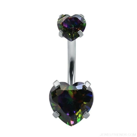 Heart Crystal Belly Button Rings - Black - Custom Made | Free Shipping