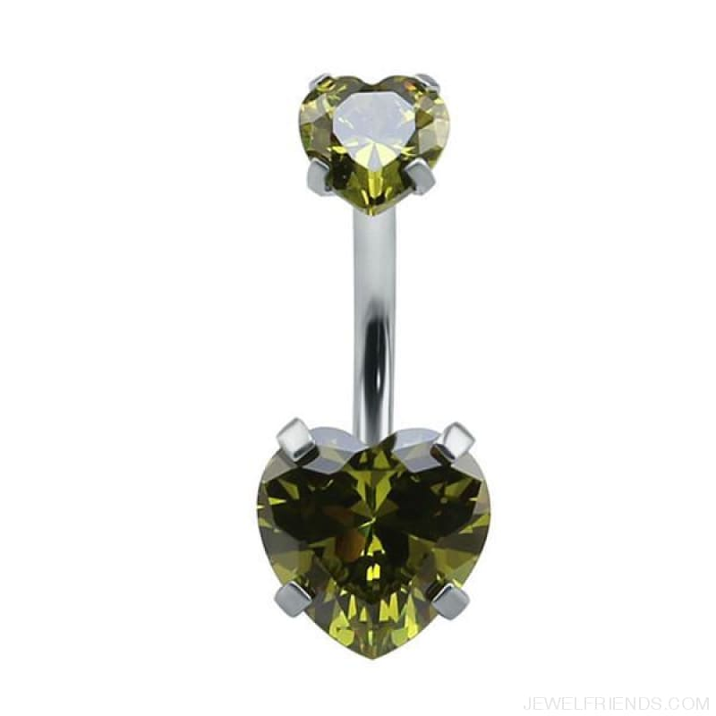 Heart Crystal Belly Button Rings - Green - Custom Made | Free Shipping