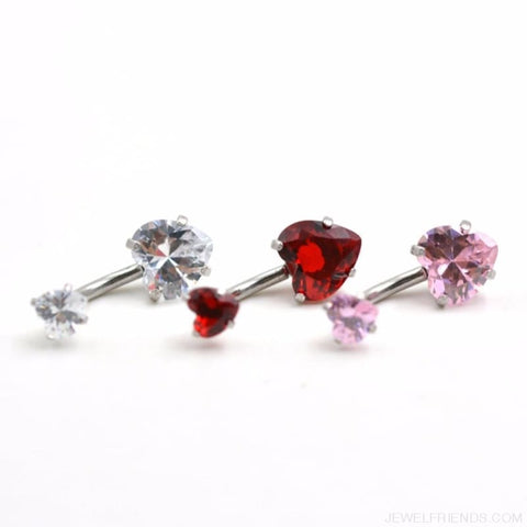 Image of Heart Crystal Belly Button Rings - Custom Made | Free Shipping
