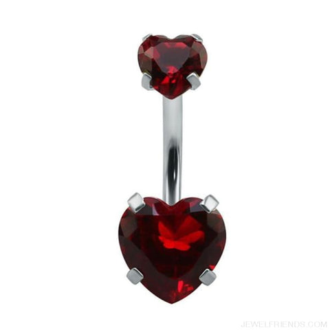 Heart Crystal Belly Button Rings - Red - Custom Made | Free Shipping