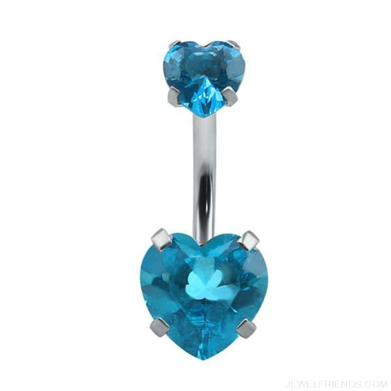 Heart Crystal Belly Button Rings - Sky Blue - Custom Made | Free Shipping