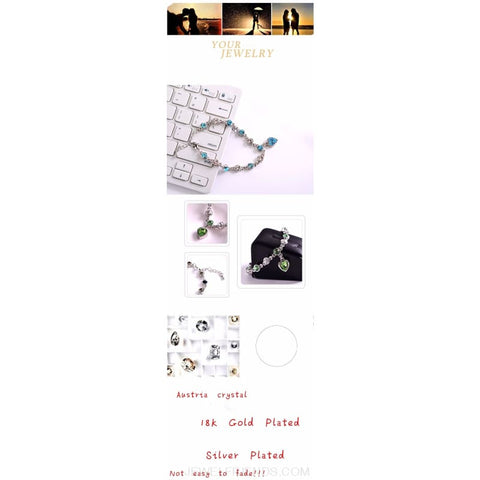 Image of Heart Crystal Silver-Color Fine Bracelet - Custom Made | Free Shipping