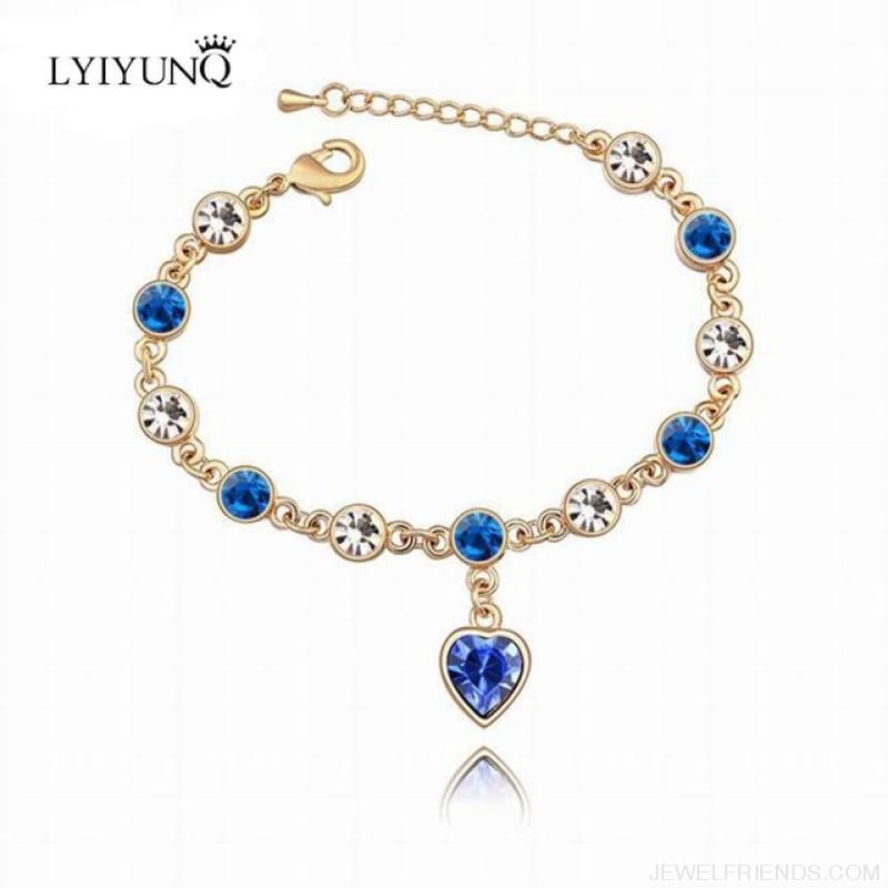 Heart Crystal Silver-Color Fine Bracelet - S001 G Blue - Custom Made | Free Shipping