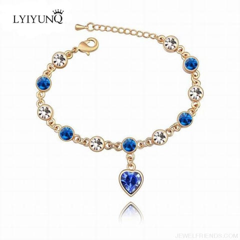 Image of Heart Crystal Silver-Color Fine Bracelet - S001 G Blue - Custom Made | Free Shipping