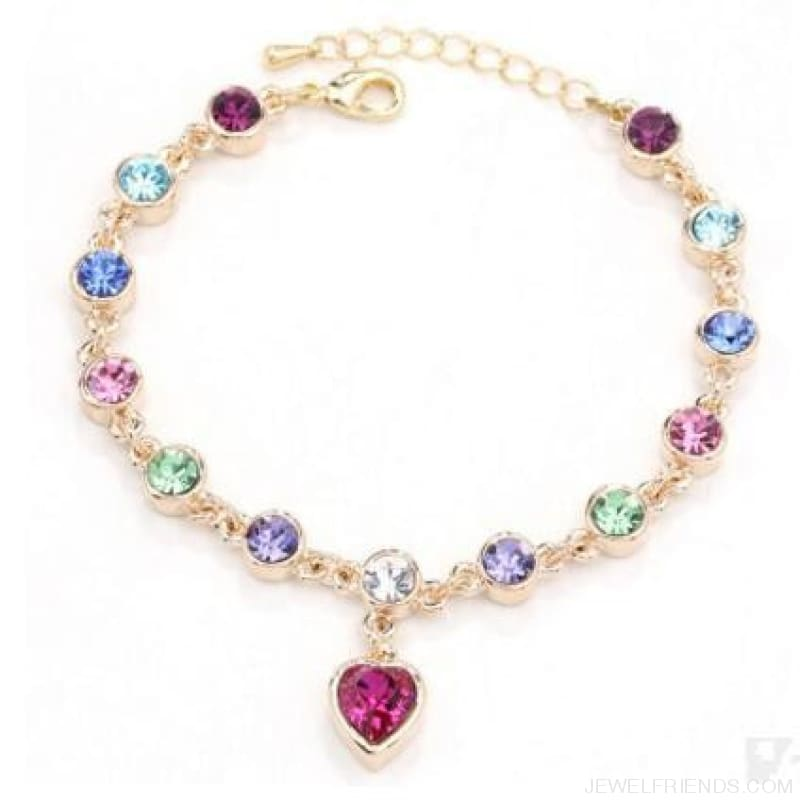 Heart Crystal Silver-Color Fine Bracelet - S001 G Colour - Custom Made | Free Shipping