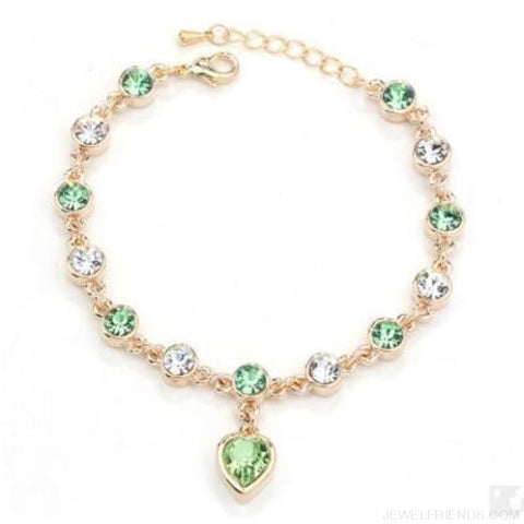 Heart Crystal Silver-Color Fine Bracelet - S001 G Green - Custom Made | Free Shipping