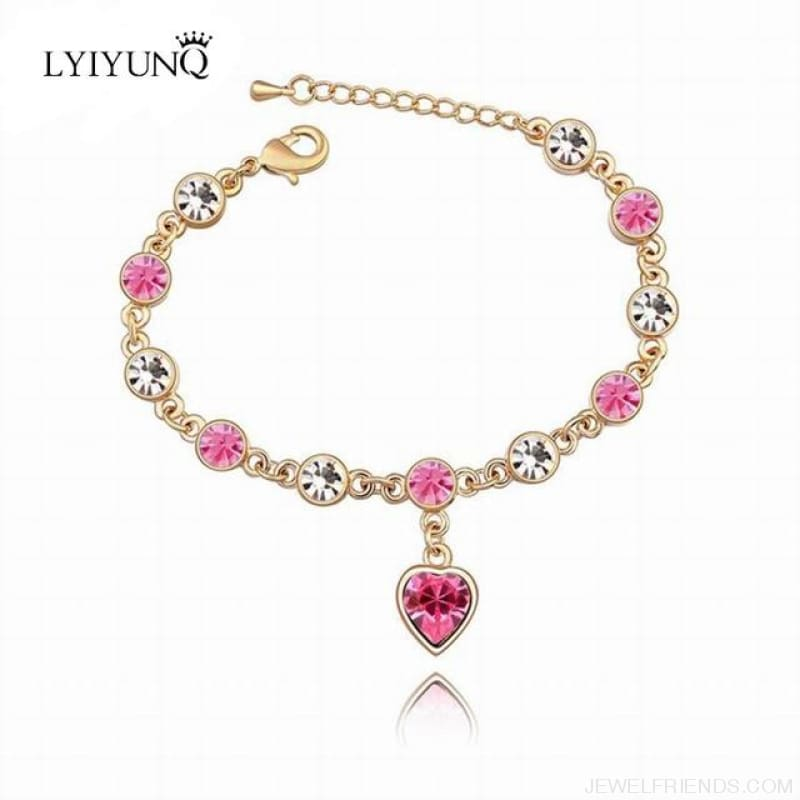 Heart Crystal Silver-Color Fine Bracelet - S001 G Pink - Custom Made | Free Shipping