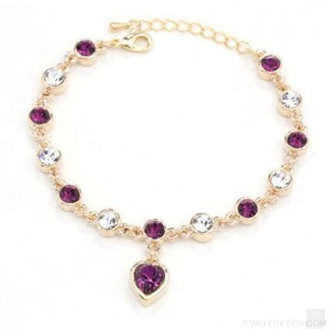 Heart Crystal Silver-Color Fine Bracelet - S001 G Purple - Custom Made | Free Shipping