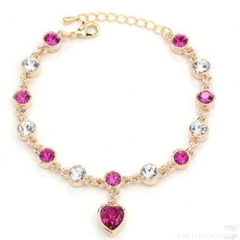Heart Crystal Silver-Color Fine Bracelet - S001 G Purplish Red - Custom Made | Free Shipping