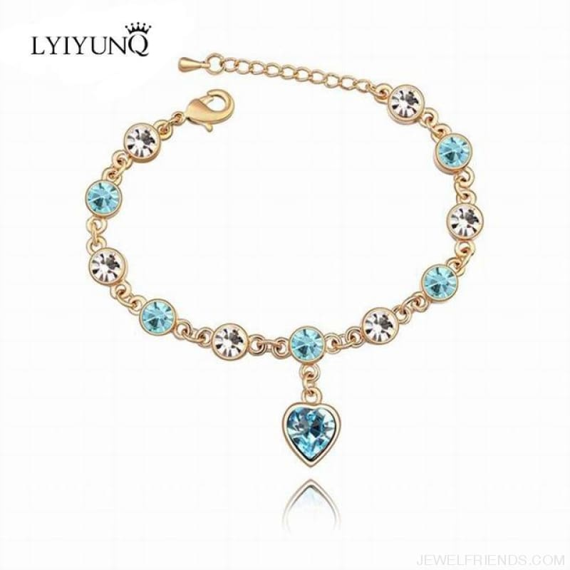 Heart Crystal Silver-Color Fine Bracelet - S001 G Sky Blue - Custom Made | Free Shipping