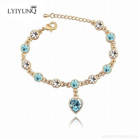 Image of Heart Crystal Silver-Color Fine Bracelet - S001 G Sky Blue - Custom Made | Free Shipping