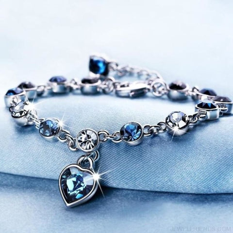 Heart Crystal Silver-Color Fine Bracelet - S001 S Blueblack - Custom Made | Free Shipping