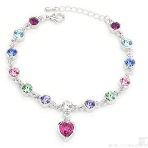 Image of Heart Crystal Silver-Color Fine Bracelet - S001 S Colour - Custom Made | Free Shipping