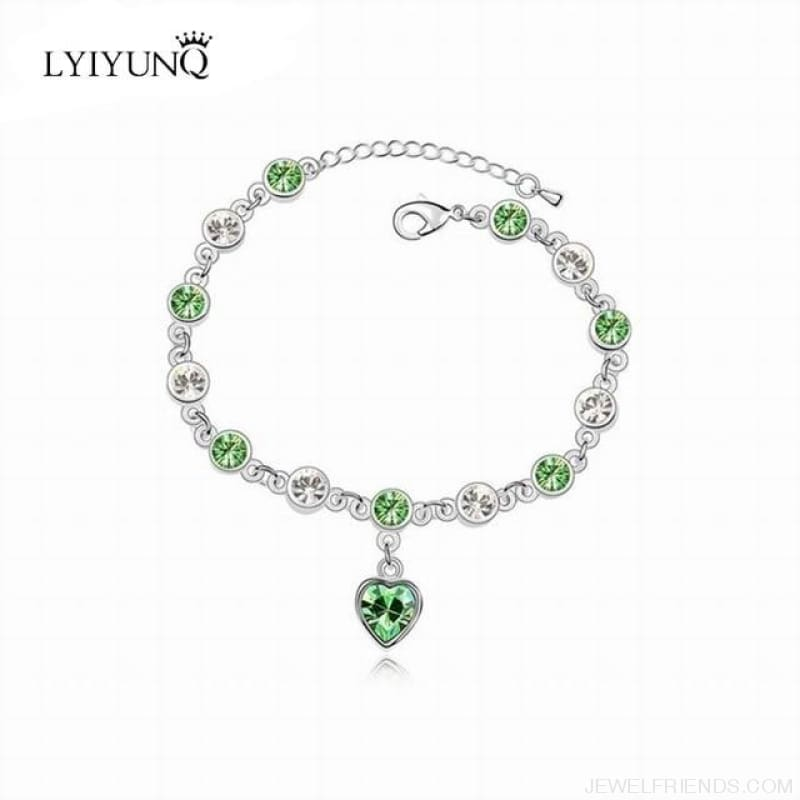 Heart Crystal Silver-Color Fine Bracelet - S001 S Green - Custom Made | Free Shipping