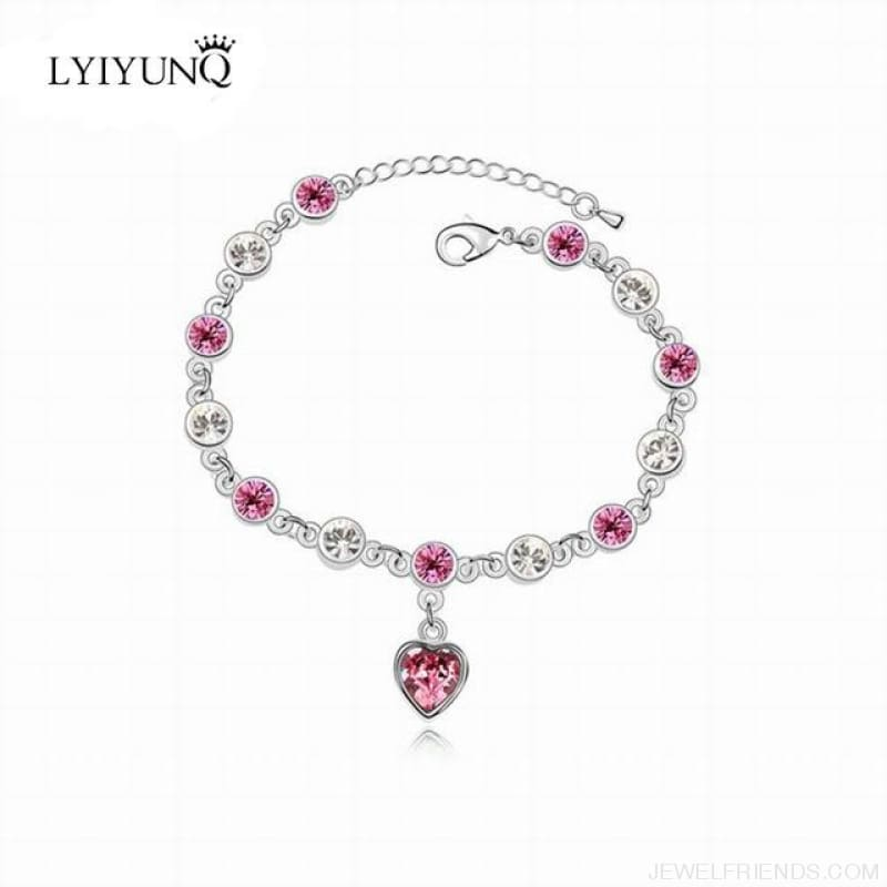 Heart Crystal Silver-Color Fine Bracelet - S001 S Pink - Custom Made | Free Shipping