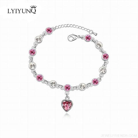 Image of Heart Crystal Silver-Color Fine Bracelet - S001 S Pink - Custom Made | Free Shipping