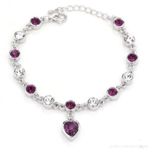 Heart Crystal Silver-Color Fine Bracelet - S001 S Purple - Custom Made | Free Shipping