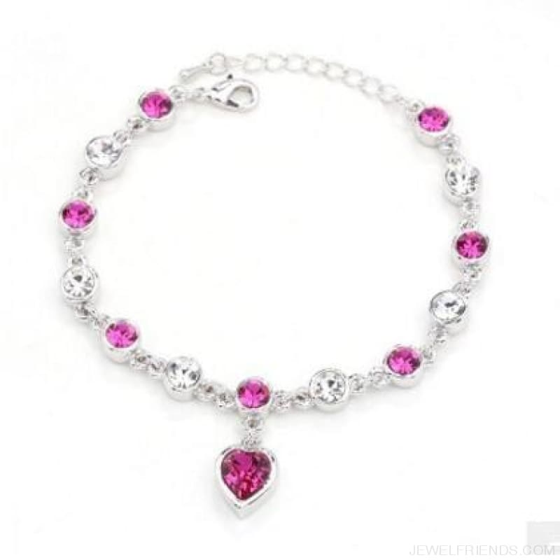 Heart Crystal Silver-Color Fine Bracelet - S001 S Purplish Red - Custom Made | Free Shipping