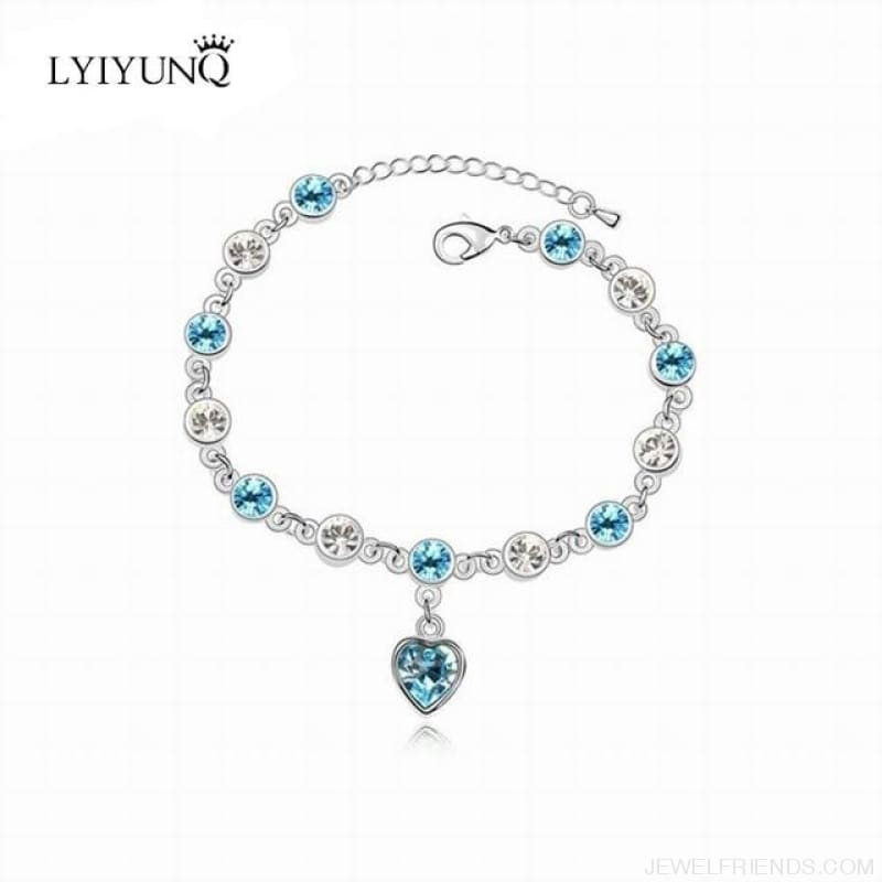Heart Crystal Silver-Color Fine Bracelet - S001 S Sky Blue - Custom Made | Free Shipping